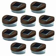 10 x Brown Solar Powered Door Fence Wall Lights Led Outdoor Garden Shed Lighting