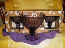 6 PC PURPLE AMETHYST GLASS ICE CREAM DISHES SERVING NEW IN BOX HEAVY