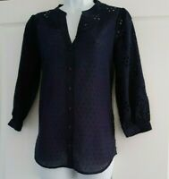 OASIS NAVY BLUE Broderie Anglais Shirt Blouse Top Size 6 8 10 12 14 16 NEW