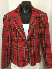 Bently Women Size 11-12 Red Plaid Blazer Button Lined Polyester Wool Suit Jacket
