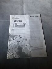 Technics Operating Instructions Manual For SC-HD510 & SC-HD310