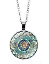 Collier Pendentif Style Chakras, Bouddhiste, Fleur Lotus Mandala.