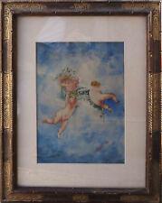 Tableau Putti les angelots s'amusant Anges daté de 1922 signé Rebufat + cadre