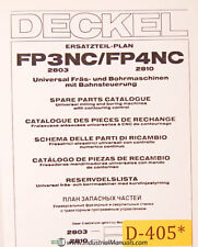 Deckel FP3NC FP4NC, Universal Tool Milling Boring, Spare Parts Manual 1985