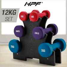 HPF Dumbbell Weights Rack Set 6 Hand 12kg Exercise Fitness Gym Dumbells AU