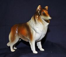 """Vintage Collie Figurine Heavy Beautiful Quality Warm Sable Standing 5"""" T 7.5"""" L"""