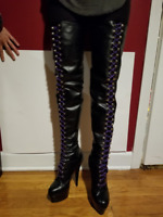 Black Leather Thigh High Lace-up Boots