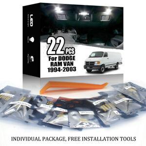 22x For DODGE RAM VAN 1994-2003 White LED Car Interior Lighting Package Kit