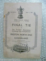1937 FA Cup FINAL PRESTON NORTH END v SUNDERLAND (Original without cover)