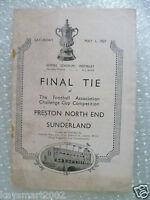 1937 FA Cup FINAL Programme PRESTON NORTH END v SUNDERLAND, 1st May (Original*)