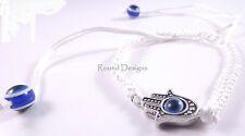 Hamsa White Bracelet Evil Eye Charm Kabbalah Hand Of Fatima Silver Pendant