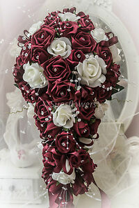 WEDDING FLOWER TEARDROP BOUQUET BURGUNDY/MAROON AND IVORY