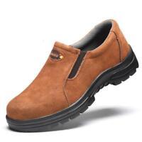 Mens welder Slip On Steel Toe Work Safety Shoes Walking Hiking Welding Boots @BT