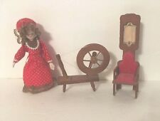Vintage Dollhouse Wooden Furniture Wood Spinning Wheel Chair & Small Doll
