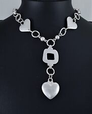 Modern Matt Silver Link Chain Beads and Loops and Heart Charms Choker Necklace