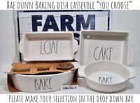 "Rae Dunn BAKE LOAF CAKE Baking Dish Loaf Pan ""YOU CHOOSE"" Wooden Spoon NEW '19"