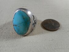Vintage sterling silver man's ring with NATURAL turquoise stone