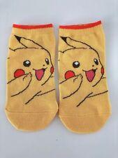 NEW Japan 1 Pair Children Kids Boys Yellow Pikachu Pokemon Short Socks 4-7years