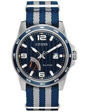 Citizen AW7038-04L Mens Eco-Drive Nylon Strap Sport Blue Dial Watch
