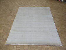 8'2 X 10 Hand Loomed Ivory Oriental Rug Bamboo Silk Modern Contemporary G6052
