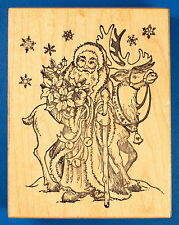PSX Old World Santa with Reindeer Rubber Stamp K-1138 St. Nick Christmas