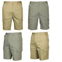 New Carabou Mens Combat Cargo Shorts Multi pocket Elasticated Waist Knee Length