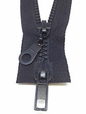 5 x  Black Plastic Chunky Teeth 2 way zip zipper, 60cms long