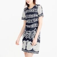 J CREW WOMEN'S SHIFT DRESS IN ORNATE LACE  BLUE AND WHITE  PRINT SIZE 4