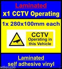 Laminado etiquetas de seguridad CCTV 1x taxi autobús automóvil Pegatinas Signo Mini Bus coche van
