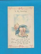 KEWPIES, UMBRELLA, A/S ROSE O'NEILL Authentic Vintage 1922 VALENTINE Postcard