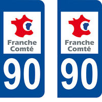 Département 90 sticker 2 autocollants style immatriculation AUTO PLAQUE
