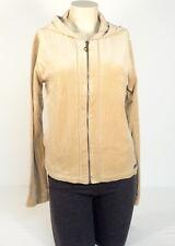 Baby Phat Tan Zip Front Hooded Velour Hooded Jacket Hoodie Womens Medium M NWT