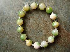 Green, Yellow & White Quartz Bead Beaded Bracelet - Genuine Gemstone - Handmade