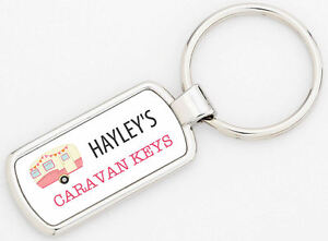 Rectangle Personalised Pink Caravan Metal Keyring Metal Supplied With Gift Box
