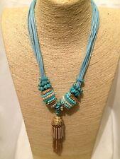 Womens STATEMENT Long Big Large AQUA Blue BEADED Cord Chunky Pendant Necklace