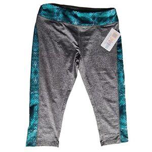 BNWT Lularoe Women's Grey Green Jade Cropped Leggings Sz L Moisture Wicking