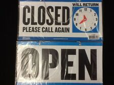 """Open Closed Sign with Chain Two sided 11.5""""x 6. Free Suction Cup"""