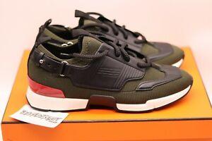 HERMES Paris Athlete Sneaker | Khaki | Size 42.5 | Knit Leather 2020