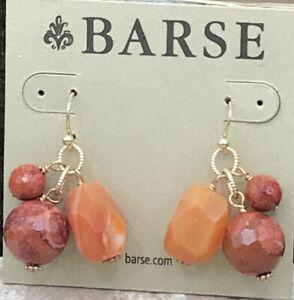 Barse Cusco Beaded Earrings- Mixed Stones & Bronze- NWT