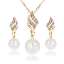 Schmuckset: Ohrringe (Paar) mit Halskette Inklusive Perlen & Strass Steinen gold