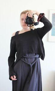 Sarah Pacini Knit Gray Lagenlook Crop Sweater One Size