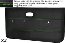GREEN STITCH 2X DOOR CARDS LEATHER COVERS FITS VW GOLF MK1 JETTA CADDY 5 DOOR