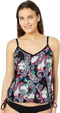 24th & Ocean 170546 Womens Tankini Swimsuit Top Black/Paisley Size Large