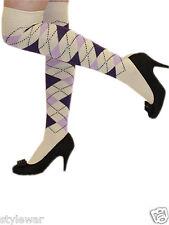 Argyle Over The Knee Socks Ladies Thigh High Dimond Check Pattern Golf Socks 4-6