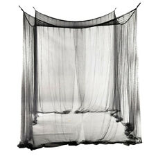 4 Post Bed Canopy Curtain Mosquito Net Kids Adults Bedroom Decoration Black