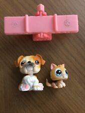 Authentic Littlest Pet Shop Lps #46 #47 Kitten Cat Bulldog Dog Pet Pairs Set