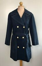 Vintage 60s London Fog Womens Trench Coat Navy Blue Caribe Cloth Immaculate 16