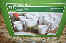 Walmart Holiday Time White Gold Band 12 Pack 12.5oz. Porcelain Coffee Cups Mugs