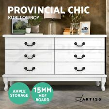 Artiss 6 Chest of Drawers Dresser Table Tallboy Lowboy Cabinet White KUBI