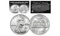TRIBUTE 1943 World War II Steel PENNY Coin Clad in .999 Fine SILVER (Lot of 3)